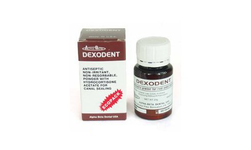 Dexodent Ecopack, antiseptic powder with hydrocortisone for root canal filling, 20g