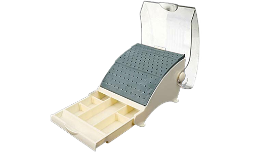 Stand-organizer for pines plastic with a cover and a sliding department on 142 openings (22HP + 65RA + 55FG), autoclavable